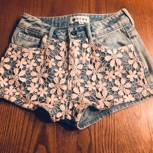 ROXY ACID WASH CROCHET SHORTS SIZE 00 FROM PACSUN